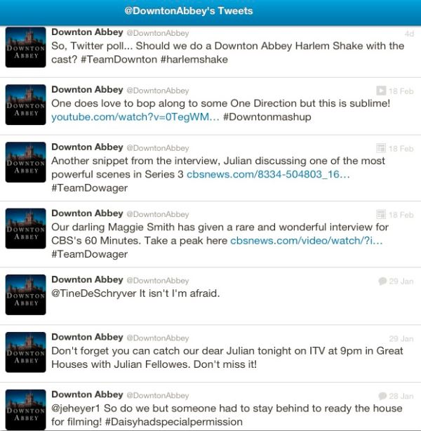 Downton Abbey's Twitter Stream