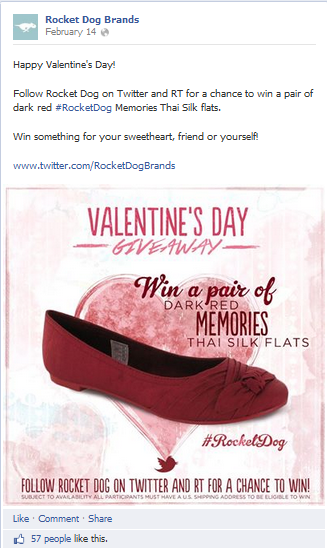 RocketDog Shoes Twitter Giveaway on FB