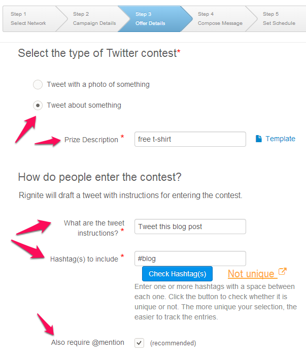 Specify entry requirements for Twitter campaign to promote blog