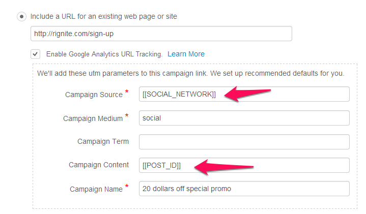 tracking social media campaigns in Rignite with Google Analytics utm parameters
