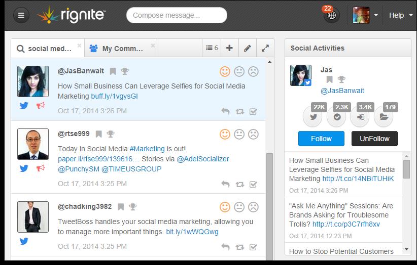 Social media monitoring stream