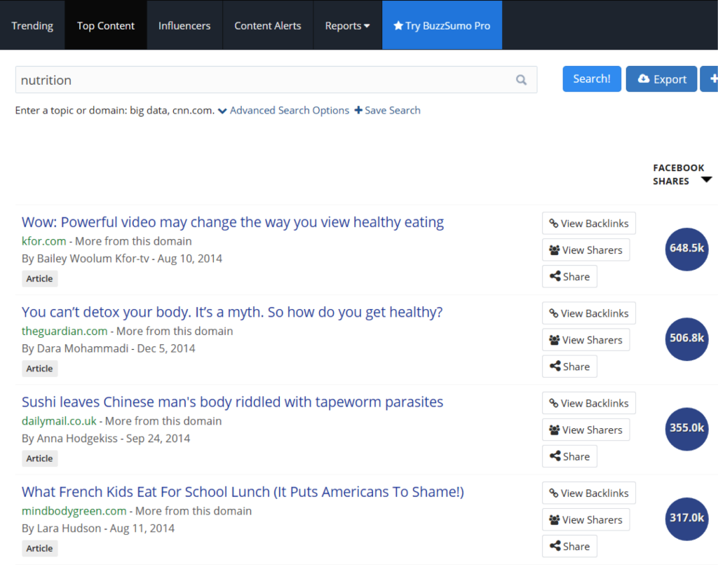 Buzzsumo search for nutrition