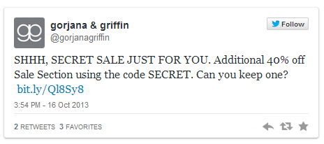 Gorjana&griffin Twitter Coupon Campaign