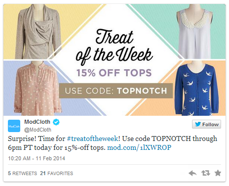 ModCloth Twitter Coupon Campaign