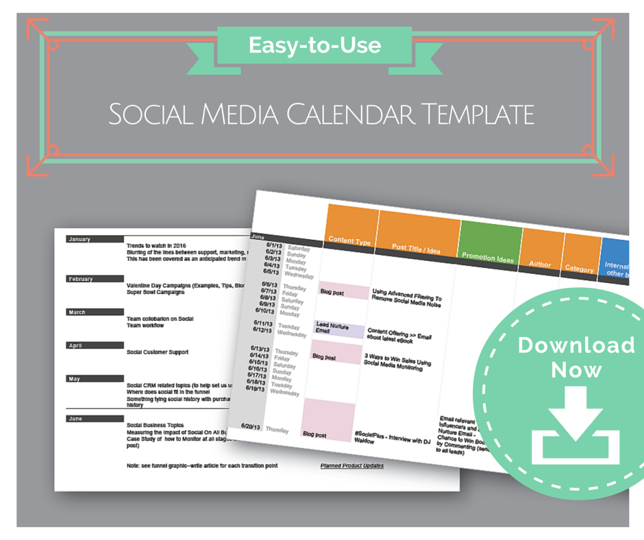 EasytoUse Social Media Calendar Template – Sample Social Media Calendar