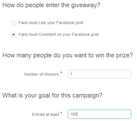 Setting up entry requirements for running a Facebook giveaway in Rignite