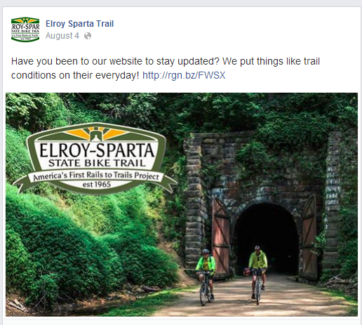 Tourism marketing example by Elroy Sparta Trail