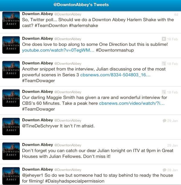 Downton Abbey's Twitter Stream