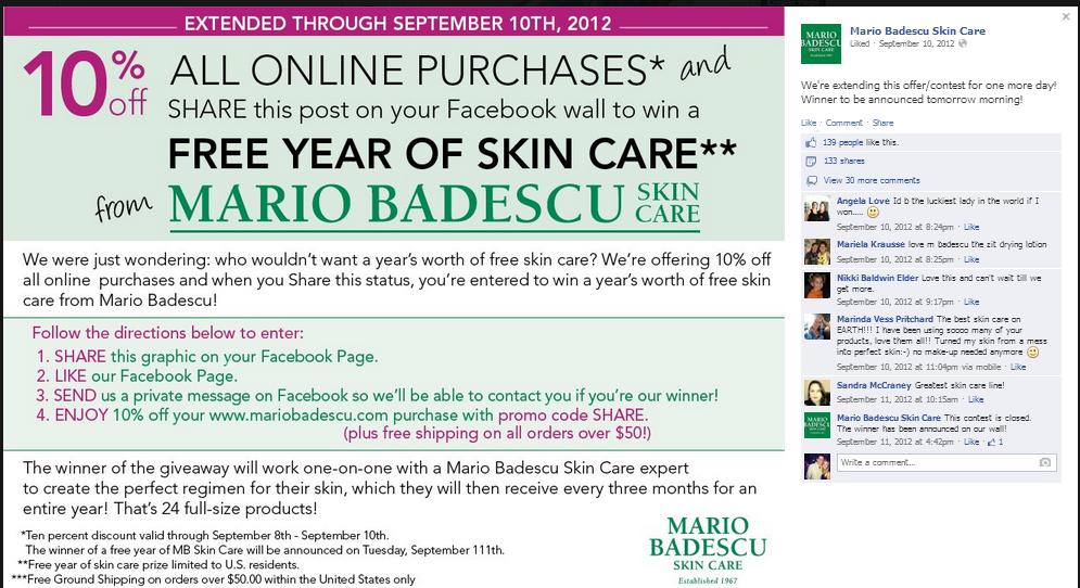 Mario Badescu Facebook Giveaway Campaign
