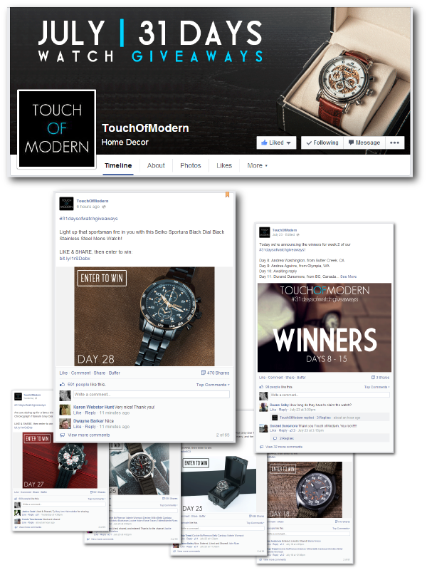 Touch of Modern - Daily product giveaway Facebook campaign ideas