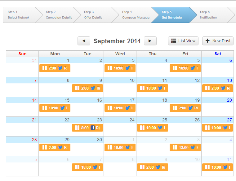 1 click schedule of a bunch of posts to promote your blog