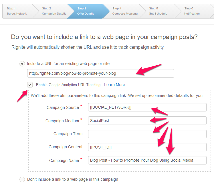 Add tracking parameters to the blog post you are promoting