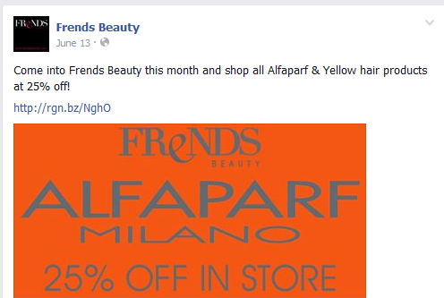 Campaign on social media by Frends Beauty to drive repeat visits by customers