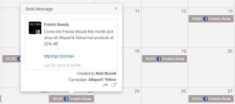 Promotional calendar in Rignite for announcing sales campaign