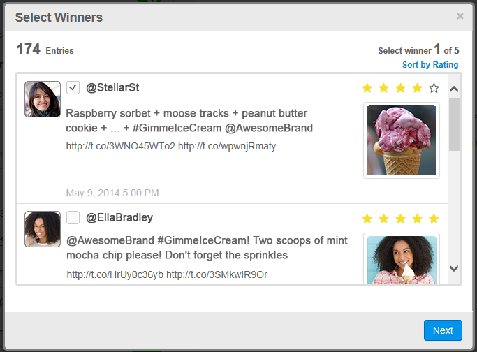 Contest entries in a word of mouth campaign on social media