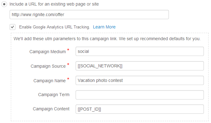 Track results of campaign using Google Analytics tracking parameters