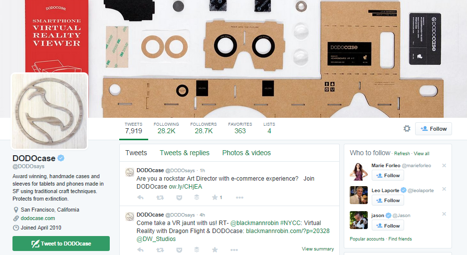 Example of great Twitter header photo