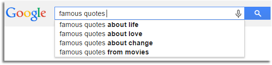 Google search for famous quotes