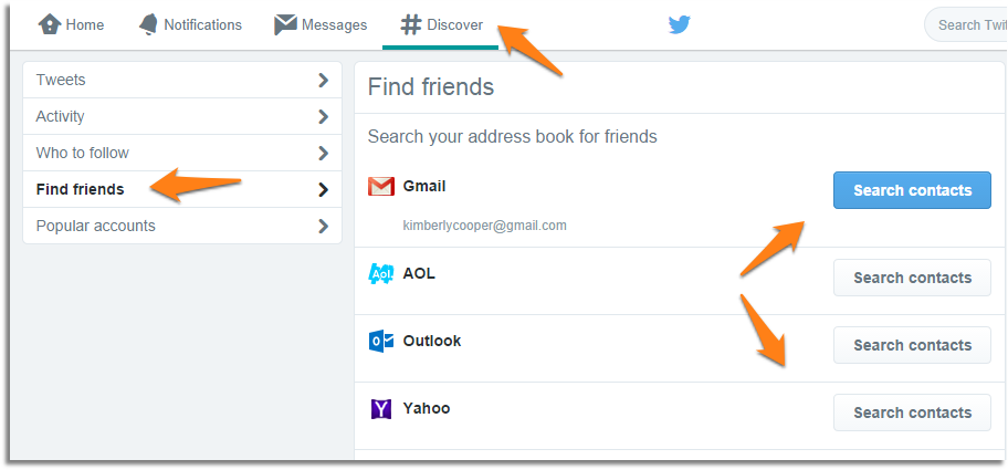 Use Twitter discover page to get more followers