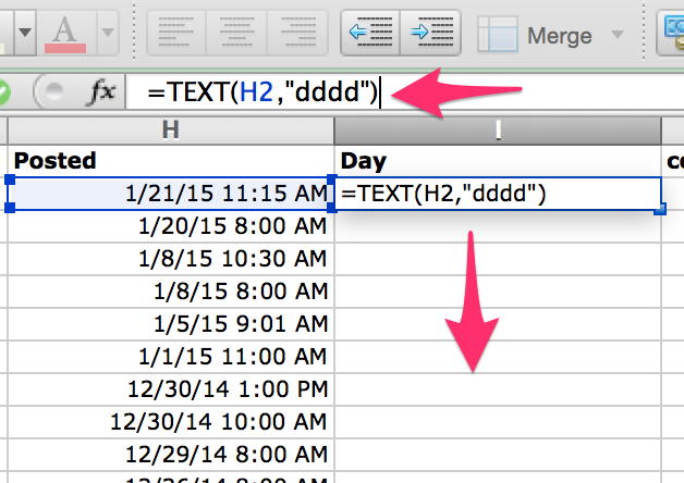 calculate day of week in Excel