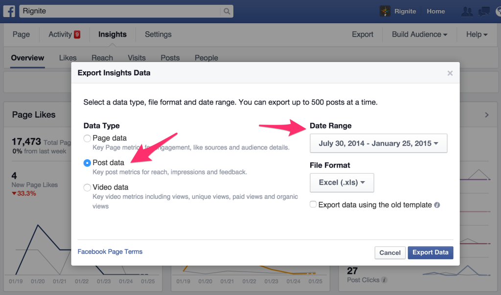 export post level data from Facebook Insights