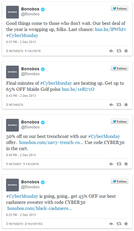 Bonobos Twitter Coupon Campaign