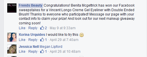 Automated winner notification posted from Rignite