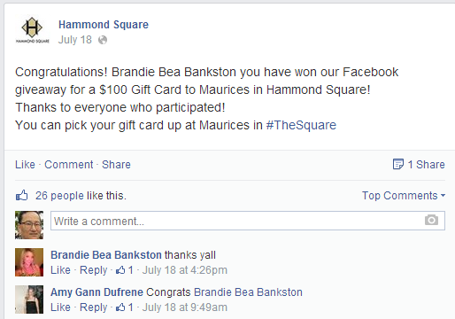 Hammond Square's Facebook Giveaway